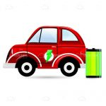Red Cartoon Car with Power Symbol and Bright Green Battery
